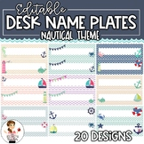 EDITABLE Desk Name Plates | Desk Name Tags | Nautical Theme