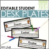 EDITABLE Desk Name Plates with Skills {Black&Bright}