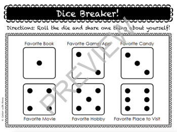 EDITABLE Dice Icebreaker Activity (Back to School!) Digital & Print Versions!