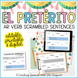 Spanish Preterite Tense AR Verbs Activity - EDITABLE - Distance Learning