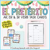 Spanish Preterite Task Cards - EDITABLE - Distance Learning