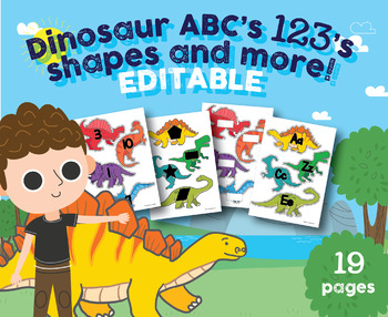 EDITABLE Dinosaur Alphabet, Numbers 1-20, Shapes, Dino Game