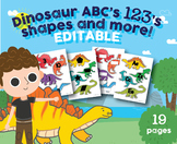 EDITABLE Dinosaur Alphabet, Numbers 1-20, Shapes, Dino Game
