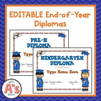 editable diplomas for preschool pre k and kindergarten by mrs a s room