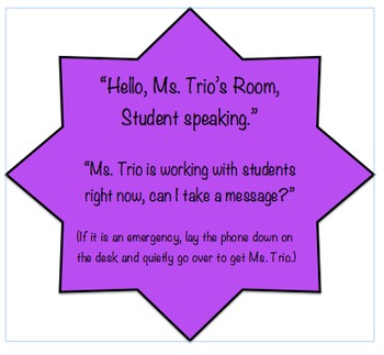 EDITABLE Directions for Answering the Classroom Phone Job