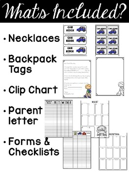 EDITABLE Dismissal Tags, Transportation Necklaces, Backpack Tags, & more!