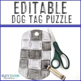 EDITABLE Dog Tags Veterans Day Activity   Make your Puzzle