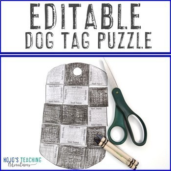 EDITABLE Dog Tags Veterans Day Activity | Make Puzzles with ANY Questions!