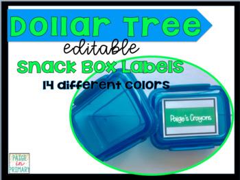 EDITABLE Dollar Tree Snack Box Labels