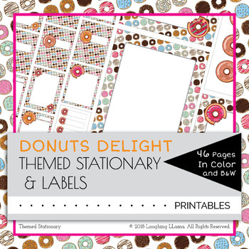 EDITABLE Donuts Theme Stationary Labels Blank Worksheets