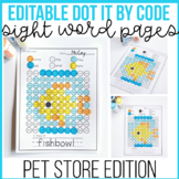 EDITABLE Dot By Sight Word Activity - PET THEMED