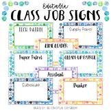 EDITABLE Dot Watercolor Classroom Job Signs