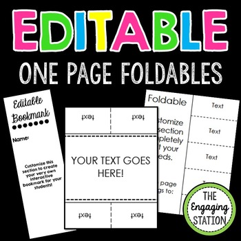 EDITABLE Double-Sided One Page Foldables BUNDLE