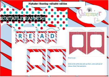 EDITABLE Seuss like Inspired banner for Word Walls and Decor, Back to school