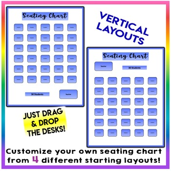 EDITABLE! Drag & Drop SEATING CHART - Starting Layout 30 Students - Cobalt Blue