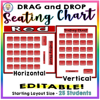 EDITABLE! Drag & Drop SEATING CHART - Starting Layout of 25 Students - Red