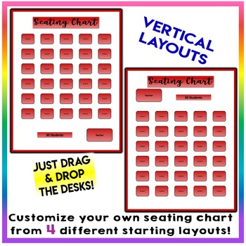 EDITABLE! Drag & Drop SEATING CHART - Starting Layout of 30 Students - Red