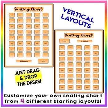EDITABLE! Drag & Drop SEATING CHART - Starting Layout of 40 Students - Orange