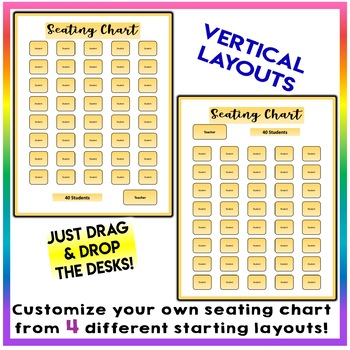 EDITABLE! Drag & Drop SEATING CHART - Starting Layout of 40 Students - Yellow