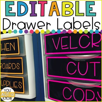 EDITABLE Drawer Labels for Classroom Organization