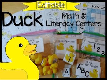 EDITABLE Duck Math and Literacy Center Activities