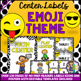 EDITABLE EMOJI Classroom Center Signs and Labels BACK TO SCHOOL