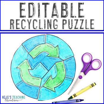 EDITABLE Earth Day Puzzle | Create Recycling Activities or Games on ANY Topic!