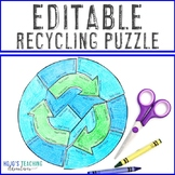EDITABLE Earth Day Puzzle | Create Recycling Activities or