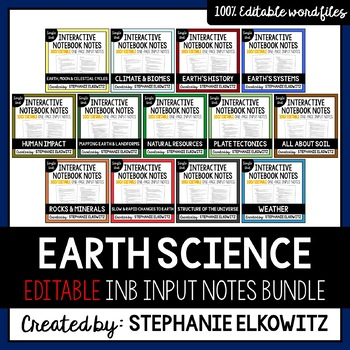 EDITABLE Earth Science Interactive Notebook Input Notes