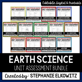 Editable and Differentiated Earth Science Unit Assessments