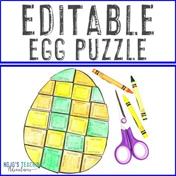 EDITABLE Egg Puzzle - Create your own Easter Activity on ANY topic - math +++!