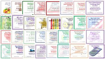 Editable Elementary Year End Award Certificates Achievement