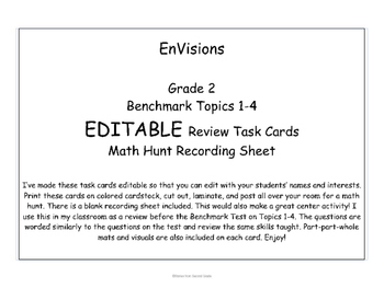 EDITABLE EnVisions Task Cards Review Benchmark 1-4