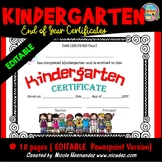 End of Year Certificates - Kindergarten (EDITABLE)
