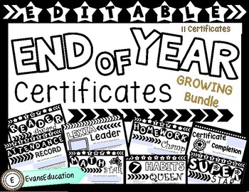 EDITABLE End of Year Certificates