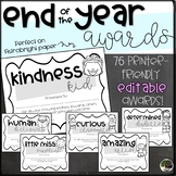 EDITABLE End of the Year Awards with Graphics- Printer Friendly B&W