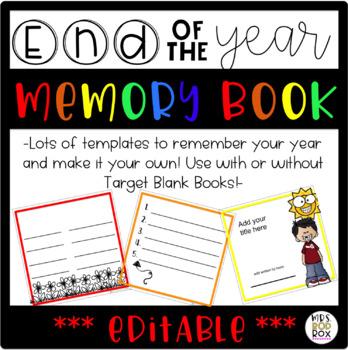 EDITABLE!!! End of the Year Keepsake Memory Book TARGET BOOKS