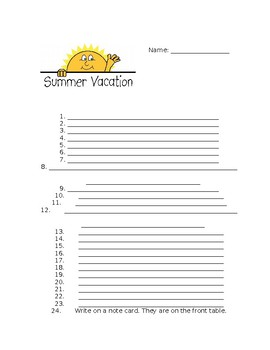 EDITABLE End of the Year Worksheet