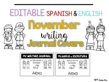 EDITABLE English/Spanish Writing Journal Covers {November}