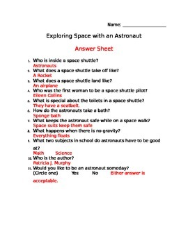 EDITABLE Exploring Space with an Astronaut Reading Comprehension Sheet