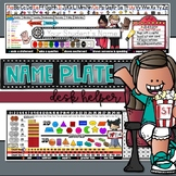 EDITABLE FIRST Grade MOVIE-Themed NAME PLATE with Skills {Desk Helper}