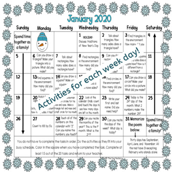 EDITABLE FREE Homework Calendars | Developmentally Appropriate PK-K | January