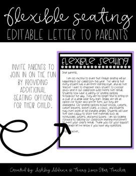EDITABLE FREEBIE- Flexible Seating Letter