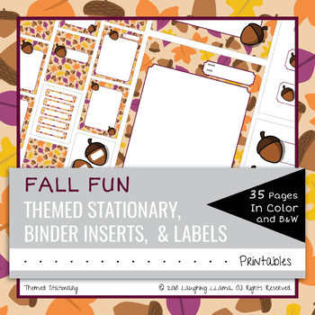 editable fall acorn theme stationary labels binder inserts blank