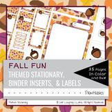 EDITABLE Fall Acorn Theme Stationary Labels Binder Inserts