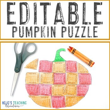 EDITABLE Fall Activity Pumpkin | Make Math, Literacy, or OTHER Puzzles!