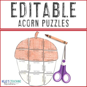 EDITABLE Fall Activity | Make your own Acorn Craft or Coloring Page Alternative