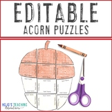 EDITABLE Fall Activity | Make your own Acorn Craft | Color