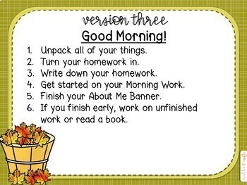 EDITABLE Fall Baskets Morning and Task PowerPoint Slides