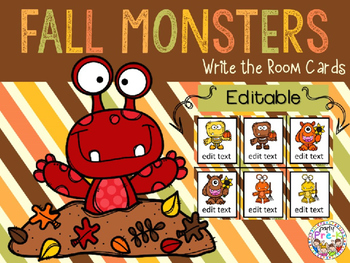 EDITABLE Fall Monsters Write the Room Cards